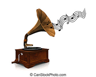 An old antique gramophone with notes coming out from it symbolizing that it's playing music.