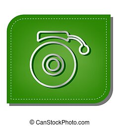 Gramophone sign. Silver gradient line icon with dark green shadow at ecological patched green leaf. Illustration.