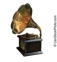 Gramophone - Vintage Things. Old Gramophone isolated on...