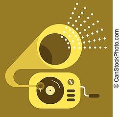 gramophone, vetorial, ícone