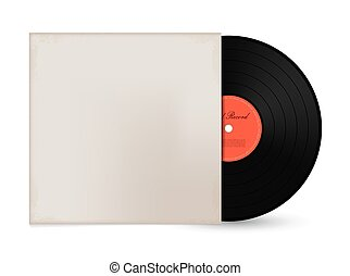 Gramophone vinyl LP record with cover mockup