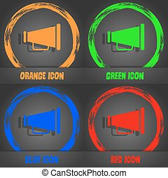 Gramophone web icon. Fashionable modern style. In the orange, green, blue, red design. Vector