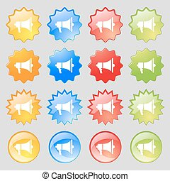 Gramophone web icon sign. Big set of 16 colorful modern buttons for your design. Vector