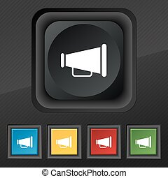 Gramophone web icon symbol. Set of five colorful, stylish buttons on black texture for your design. Vector