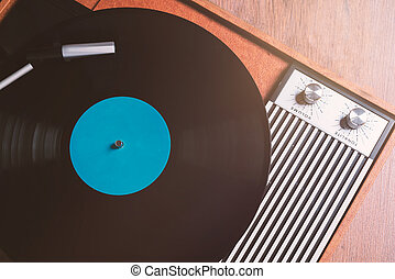 Gramophone with a vinyl record close up