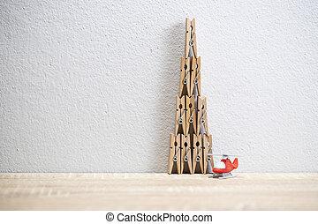 grampo, pano, torre, madeira, helicóptero