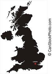 gran bretagna, mappa, grande