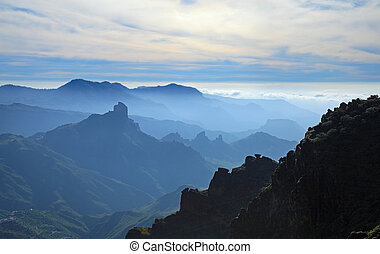 Gran Canaria, Caldera de Tejeda, mist is settling over...