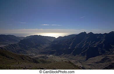Gran Canaria, December, view from a hiking path in Inagua ...