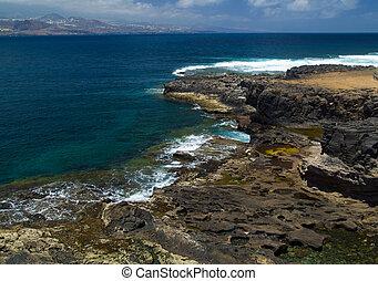 Gran Canaria, edge of El Confital Beach on la Isleta