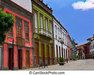 Gran Canaria Teror colorful facades in Canary islands