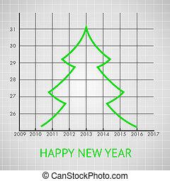 gran, diagram, träd