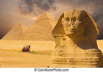 gran esfinge, cara, ocaso, plano de fondo, pirámides