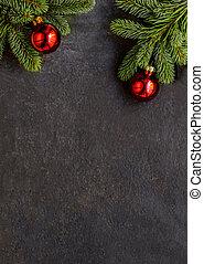 gran, festlig, svart, bord, bakgrund, dekoration, mörk, copyspace, julgran