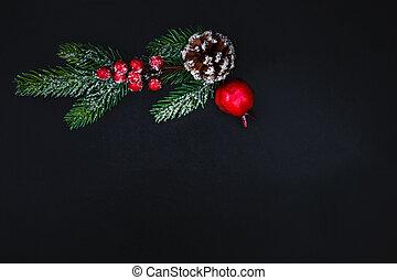 gran, festlig, utsikt., mörk, utsmyckningar, copyspace, julgran, träd, jul, card., topp, fura, vinter, bakgrund.