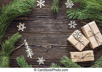 gran, grenverk, bakgrund, gåva, utrymme, trä, text., boxes., utsmyckningar, jul