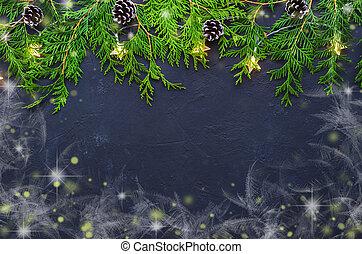 gran, grenverk, bakgrund., träd, mörk, above., jul, synhåll