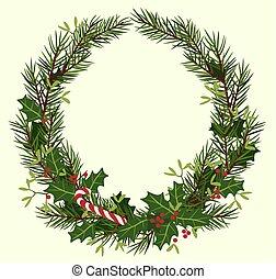 gran, grenverk, ram, mistel, runda, vektor, järnek, jul