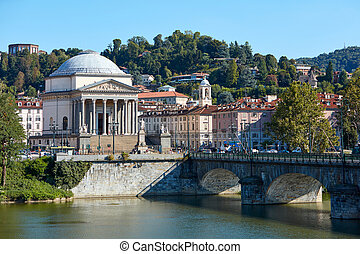 Gran Madre di Dio church in Turin and Po river in a sunny summer day in Italy