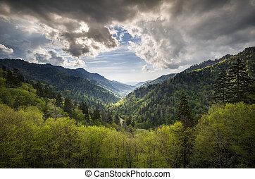 gran montañas llenas humo parque nacional, mortons, dominar, escénico, paisaje, gatlinburg, tn, con, primavera, verde, y, cielo dramático