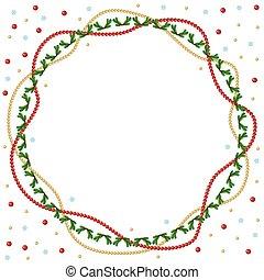 gran, pärlhalsband, guld, ram, hälsning, jul, röd, runda, ...