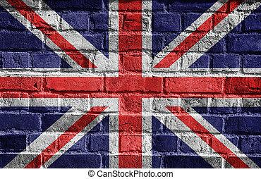 gran pared, bandera, grunge, gran bretaña, inglés
