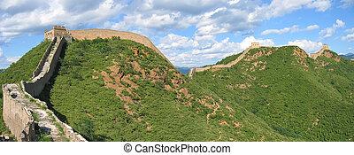 gran pared, panorama, ond, china, china, montañas
