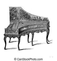 Gran piano XVIII century, vintage engraving