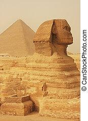 gran pirámide, esfinge, el cairo, arena, tormenta, khufu