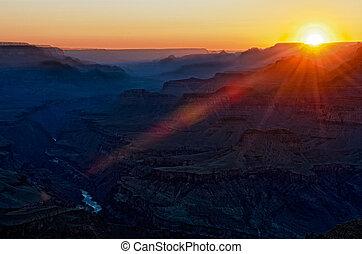 gran, solnedgång, kanjon, färgrik