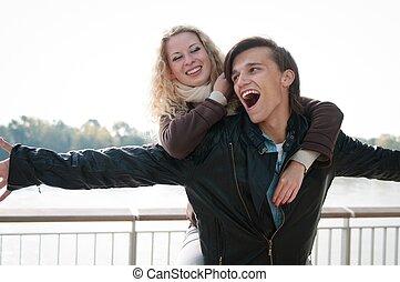 gran tiempo, -, pareja joven, juntos
