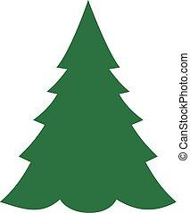 gran träd, jul, ikon
