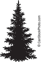 gran träd, silhuett, jul