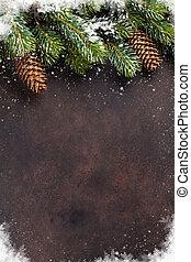 gran träd, snö, bakgrund, jul