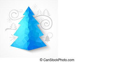 gran, träd., triangel, jul