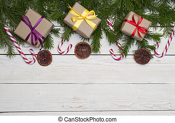 gran, utrymme, trä, text, träd, jul, bakgrund, din