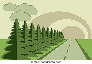 gran, väg, sky, träd, papercraft