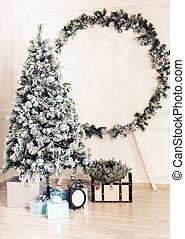 gran, vardagsrum, gåva, träd, rutor, dekorerat