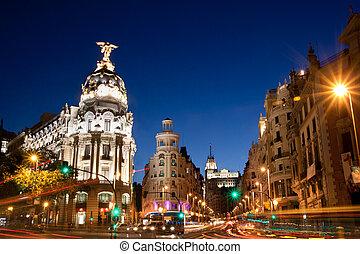 Gran Via in Madrid, Spain, Europe. - Rays of traffic lights...