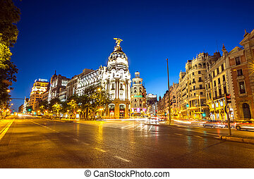 Gran Via Madrid - Gran Via, main shopping street in Madrid,...