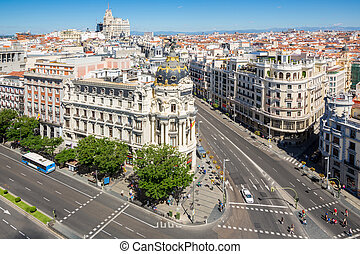 aerial view of Gran Via, main shopping street in Madrid, capital of Spain, Europe.