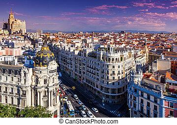 Gran Via Street, Madrid, Spain
