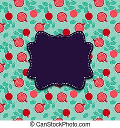 granaatappel, achtergrond, illustratie, frame.