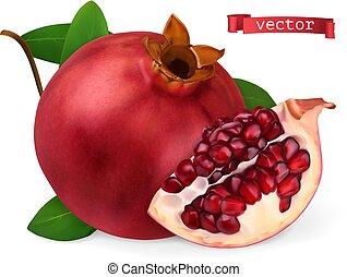 granaatappel, fris, fruit., image., 3d, vector, realistisch,...