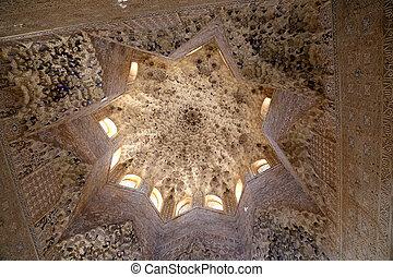 granada, średniowieczny, pałac, alhambra, mauretański, -,...