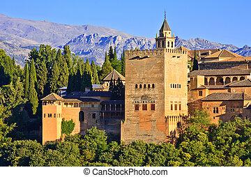 granada, alhambra, ondergaande zon , spanje
