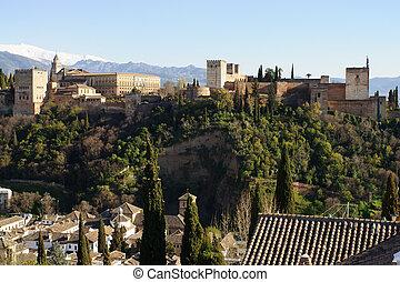 granada, alhambra, zachód słońca, hiszpania