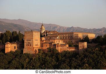 granada, andalusia, alhambra, hiszpania, sunset.