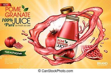 granada, anuncio, jugo