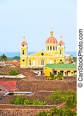 Granada cathedrak and lake Nicaragua.